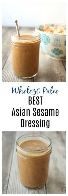 Best Asian Sesame Dressing (Whole30 Paleo) - the best tasting, from scratch Asian dressing you'll ever taste! Made with no added refined sugars and perfect for Whole30/Paleo plans. | tastythin.com