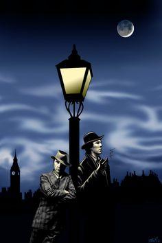 A noir version of John and Sherlock. (Coloured version) Sherlock Noir (in colour) Benedict Sherlock, Benedict Cumberbatch, Sherlock Holmes, Silly Hats, Benedict And Martin, Up In Smoke, Arthur Conan Doyle, Fandom, Johnlock