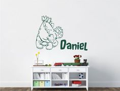 Buy this cute kids dinosaur bedroom decor sticker with added personalised name sticker and make your little dinosaur lovers day. Personalised Wall Stickers, Childrens Wall Stickers, Name Stickers, Wall Sticker Design, Dinosaur Bedroom, Bedroom Decor, Wall Decor, Cute Kids, Home Decor