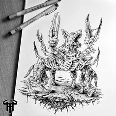 Crabdog from hell. Original ink drawing by Theoretical part. Sketchbook art, death metal, black metal art, dark art, character design