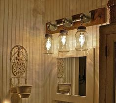 IndustrialRusticModern Wood Handmade Mason Jar Light FixturePipe - Wood bathroom light fixtures