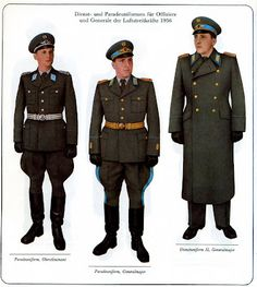Parade dress and service uniforms of East German Air Force officers and generals.