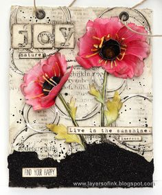 Layers of ink - Poppy Mixed Media Panel Tutorial by Anna-Karin. Made for the Simon Says Stamp Monday Challenge blog, STAMPtember blog hop.