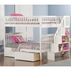 Atlantic Furniture Woodland Full Over Full Bunk Bed with 2 Urban Bed Drawers and Staircase