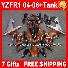 Купить товар7 подарки + для YAMAHA оранжевый серебряный 04 06 YZF R1 04 05 06 YZF 1000 P101135 YZF1000 новый оранжевый YZF R1 YZFR1 2004 2005 2006 обтекателя в категории Щитки и художественная формовкана AliExpress.                              Удостоверение личности aliexpress: MotoGP