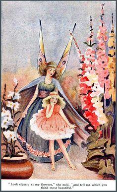 Pastel Fairy and Garden Vintage Illustration