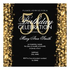 elegant birthday party ideas - Google Search. 50th Birthday InvitationsGold  ...