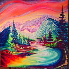 """Mountain Freedom"" 4x4 feet original acrylic painting By Joni Young, Golden B.C. Canadian artist @joniyoungart"