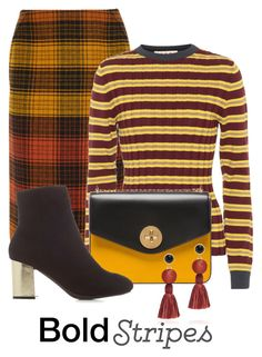"""Pattern Mixing:  Stripes & Plaid"" by shamrockclover ❤ liked on Polyvore featuring Bottega Veneta, Marni, Bally, Charlotte Russe and Lizzie Fortunato"