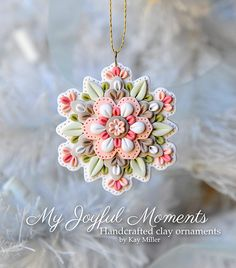 Handcrafted Polymer Clay Mini Floral Snowflake Ornament by Kay Miller.