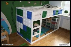 The Kura decorated with giant lego pieces - great design for a boys room. Photo: lilldonten on styleroom.se ++ see more Ikea Kura bunk bed hacks