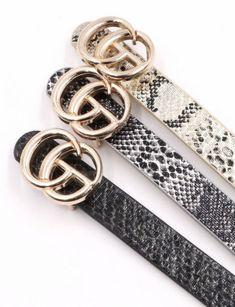 "Faux leather metal ring buckle belt Width: 5/8"" Fashion Belts, Gucci Fashion, White Belt, Brown Belt, Metal Buckles, Belt Buckles, Gg Belt, Brown Texture, Snake Patterns"