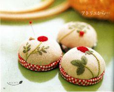 """Pin Cushions by Kazuko Aoki """"バラの咲く庭"""""""
