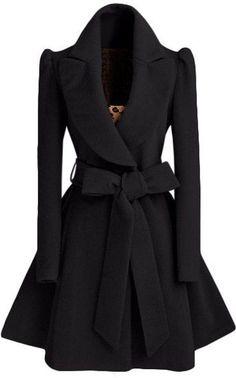 Schwarze Knopfe Langarm Lange Wollmantel mit Bowknot Gürtel Winter Ausgestellter Mantel Damen Mode