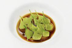 Braised Japanese Daikon, charred leeks, black garlic-onion dashi, miners lettuce at Amalur Project, Los Angeles. #wheretoeat #restaurants