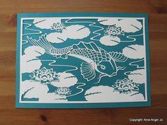 Papercut Template A4 Koi & Water Lilies DIY Paper by NineFingerJo
