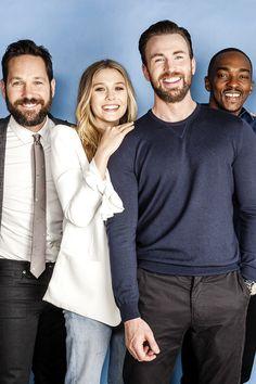 Paul Rudd, Elizabeth Olsen, Chris Evans and Anthony Mackie photographed for '…