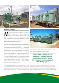 """P2. """"Since 2009, Ozzi Kleen has provided a range of sewage treatment systems to Santos for accommodation camps of 10 to 400 people."""""""