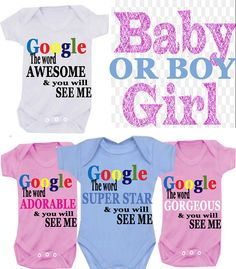 GOOGLE me bodysuit/onesie AWESOME etc  Auntie or Uncle or Nanny or Grandad or Brother or Sister on Etsy, £5.99