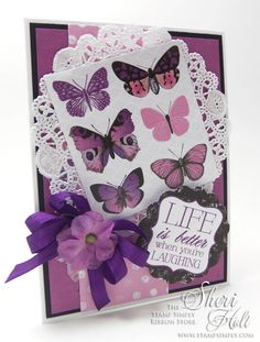 MY SHERI CARDS: The Stamp Simply Ribbon Store - Purple Butterflies featuring  Kaisercraft Violet Crush - designed by Sheri Holt