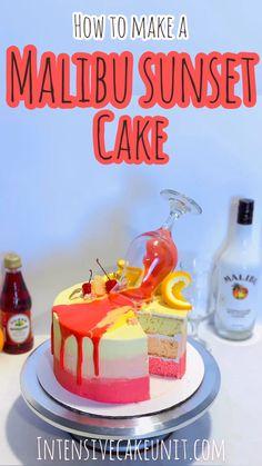 Step-by-step instructions to make a coconut rum-infused Malibu Sunset cake! Mini Cakes, Cupcake Cakes, Liquor Cake, Alcohol Cake, Drinks Alcohol, Alcoholic Desserts, Alcoholic Shots, Cake Recipes, Dessert Recipes