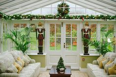 Christmas decor in the conservatory Christmas Decorations For Kids, Yule Decorations, Christmas Themes, Kids Christmas, Orangery Conservatory, Conservatory Ideas, Beautiful Christmas, Christmas Wedding, Sunroom