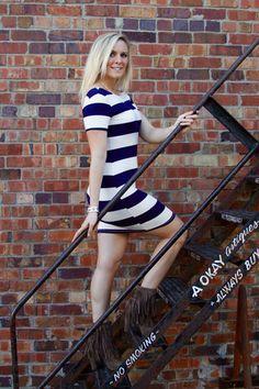 2 hearts Knit Scoop Back,Wide Striped Dress