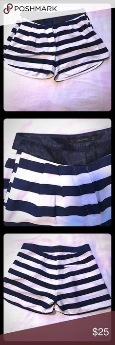 Navy blue & white striped shorts Super cute & comfortable navy and white striped shorts from Zara. Dress them up or down. Have pockets. Great condition. Zara Shorts