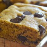 Pumpkin Chocolate Chip Blondies  Made 11/30/14-- wonderful. Used dark choc chips. Sprinkle of walnut topping.