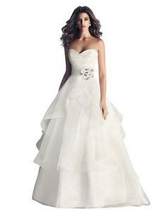 Paloma Blanca Italian Taffeta and Organza A Line Gown Wedding Attire, Wedding Gowns, Wedding Dresses Under 500, Strapless Dress Formal, Formal Dresses, A Line Gown, Dress Outfits, One Shoulder Wedding Dress, Bride