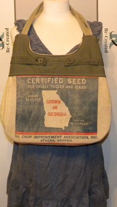 Vintage Georgia Clover seed sack upcycled by LoriesBags on Etsy
