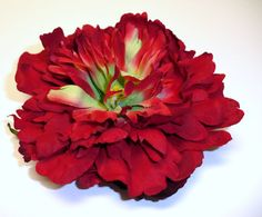 Silk Flowers - One Large Red Peony - 5 Inches