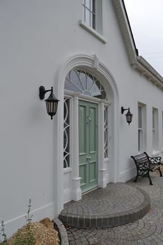 A selection of Sperrin Mouldings Images Arched Front Door, Front Door Steps, Painted Front Doors, Arched Windows, House Windows, Modern Bungalow Exterior, Modern Farmhouse Exterior, Build House, Building A House