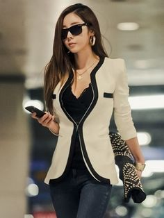 Best Casual Blazers Outfits for Women 2015 - I like how this blazer only attaches at the middle... and the pattern/color blocks are nice