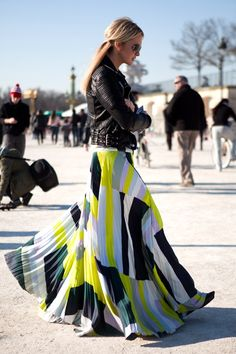 Cute outfits, amazing technicolor maxi skirt and leather jacket..... click on picture to see more