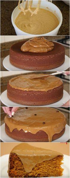 Bolo de Caramelo. Super fofinho, delicioso e fácil de fazer! #bolo #bolodecaramelo #comida #culinaria #gastromina #receita #receitas #receitafacil #chef #receitasfaceis #receitasrapidas