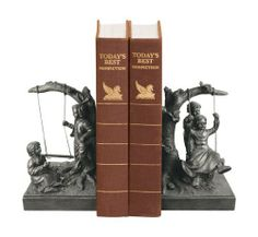 Sterling Home Pair of Children Swinging Not Too High Bookends, 6-1/2-Inch Tall by Sterling Home. $52.99. Each bookend is 4-1/4-inch long by 4-1/4-inch wide and 6-1/2-inch tall. Bookends can decorate a table or shelf or even use to hold up books. Sculpted composite design with metal accents and oiled bronze finish. Detailed bookends are the perfect gift for mom, grandma, or your favorite teacher. Pair of not too high bookends depicts kids playing on swings. Whether decorat...