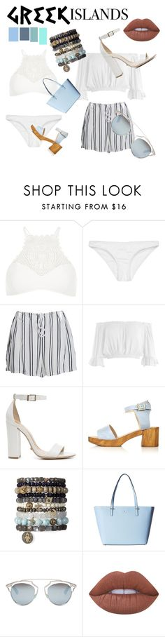 """""""Blue blue BLUE."""" by faith101-b ❤ liked on Polyvore featuring River Island, Rip Curl, WithChic, Sans Souci, Schutz, Topshop, Kate Spade, Christian Dior, Lime Crime and Packandgo"""