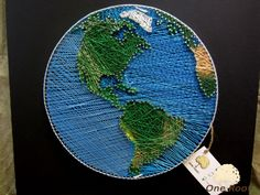 String Art Planet Earth Wall Art Sign World Map. от OneRoots