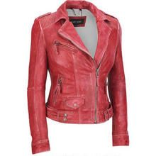 Distressed Red Leather Moto Jacket.  This is one of my favorites of the gift package of jackets etc I was given.  It is so awesome, and the red is the same color as my big truck :)