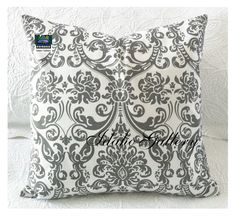 ON SALE Damask Gray and White Pillow Cover 18 x 18 by IdahoGallery