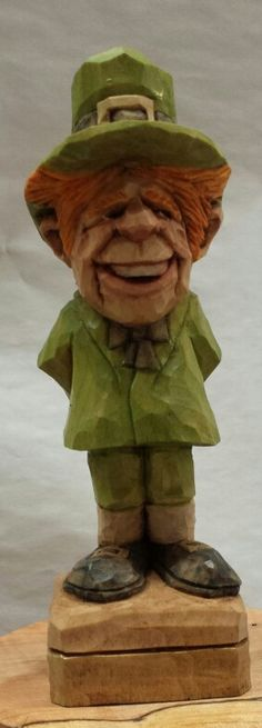 Irish leprechaun inches tall claude s wood carving