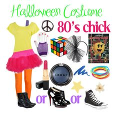 """Halloween Costume - 80's chick"" by itsbriannamylove ❤ liked on Polyvore featuring Wet Seal, Forever 21, BOY London, Christian Louboutin, Converse, Dorothy Perkins, Chanel, LORAC, Urban Decay and Clips"