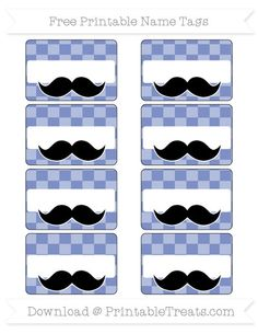 Pastel Dark Blue Checker Pattern  Mustache Name Tags