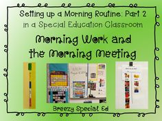 Setting up a morning meeting for a special education classroom life skills Life Skills Classroom, Classroom Routines, Classroom Procedures, Autism Classroom, Classroom Ideas, Future Classroom, School Classroom, Classroom Management, Kindergarten Special Education