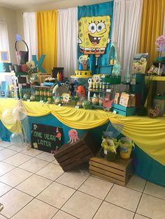 Nathan's Birthday Party Spongebob Birthday Party, 2nd Birthday Party Themes, Baseball Birthday Party, Baby 1st Birthday, Birthday Diy, Birthday Party Decorations, Spongebob Party Ideas, Birthday Ideas, Sponge Bob