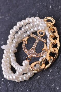 Anchor Bracelet Set Pearl & Diamonds Gold Love this!