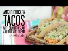 Ancho Chicken Tacos with Cilantro Slaw and Avocado Cream   Food Corner ...