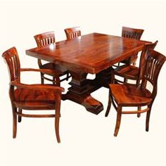 Solid Wood 7pc Trestle Pedestal Dining Table & Barrel Back Chair Set