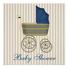 Vintage Blue Carriage Pram Vintage Baby Boy Shower Invitations